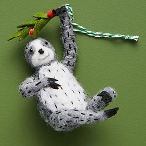 NWOT Sloth Mistletoe Anthropologie Ornament